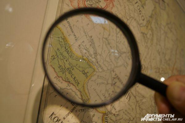 Фрагмент карты Восточной Сибири, на которой отмечен Челябинск.