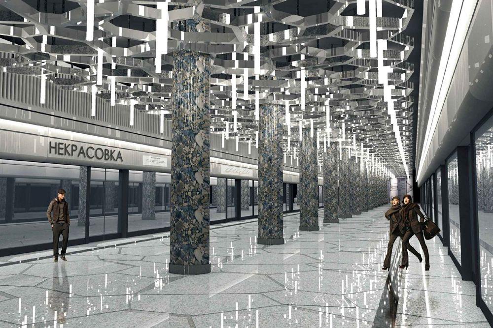 Станция «Некрасовка» Кожуховской линии откроется в 2017 году. Поскольку станция располагается на территории бывших полей орошения (Люберецкие поля), архитекторы постарались отразить в дизайне станции тему экологии земли. Пассажиропоток: 190 тысяч человек в сутки.