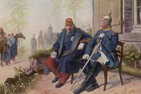Наполеон III и Отто фон Бисмарк после разгрома французов в Седане.