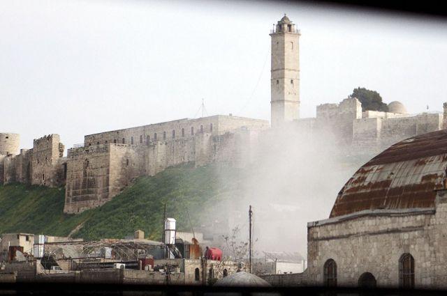Цитадель Алеппо после взрыва.