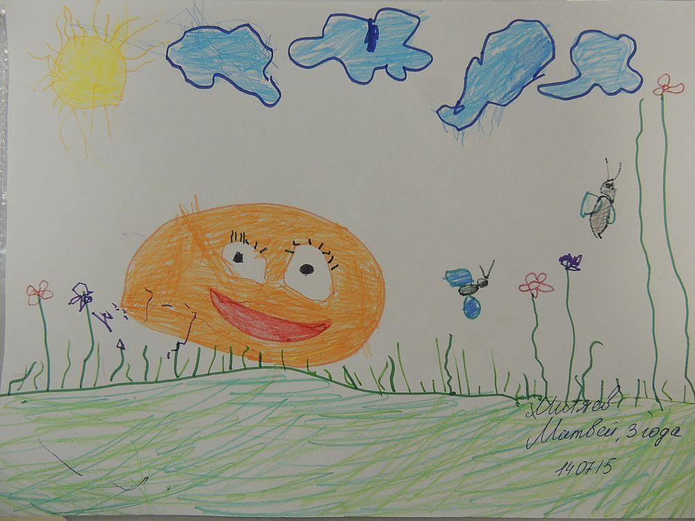 Совсем юный – 3-летний, участник выставки нарисовал Колобка.
