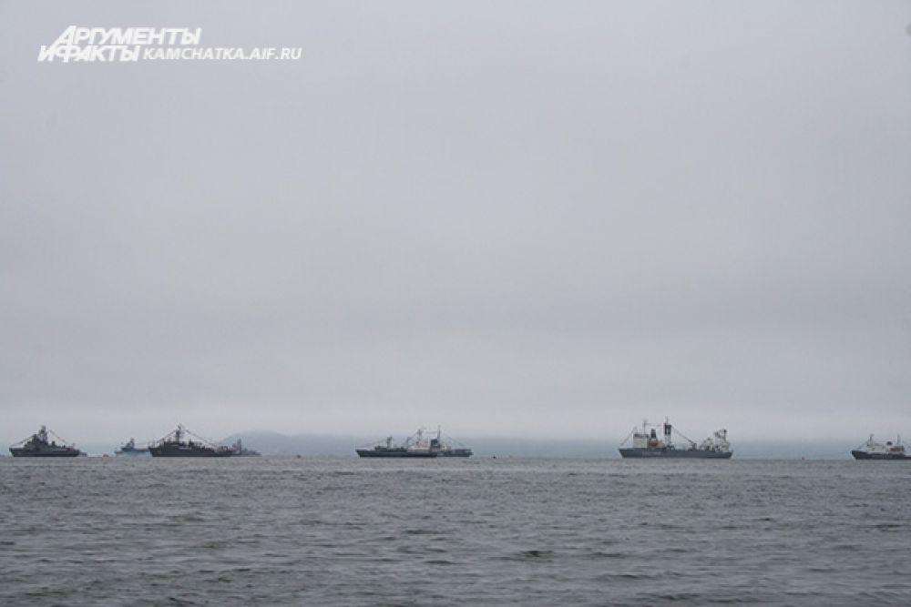 Военно-морской парад открыл праздничную программу в Авачинской бухте.