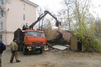 Демонтаж незаконных гаражей.