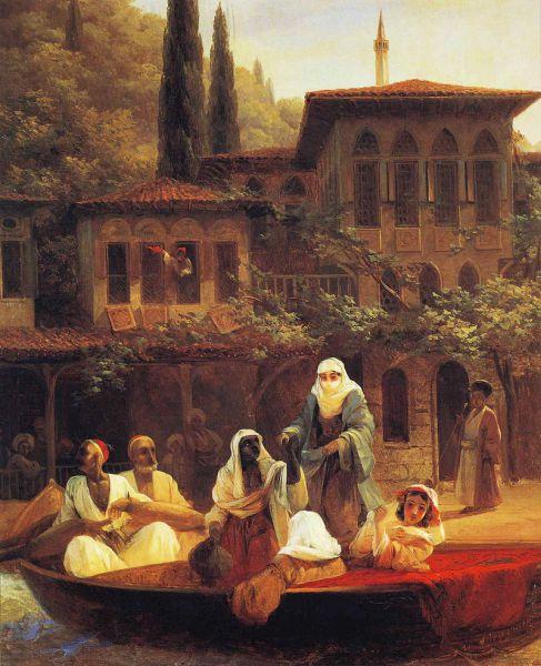 «Восточная сцена (В лодке)». Поездка на лодке по Кумкапи в Константинополе. 1846 год. Музей-заповедник «Петергоф»