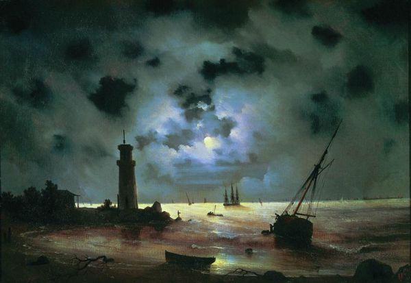 «Берег моря ночью. У маяка». 1837 год. Феодосийская картинная галерея