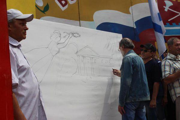 Ульяновский художник Борис Склярук и руководитель карсунской детской школы искусств Владимир Фролов на пленэре