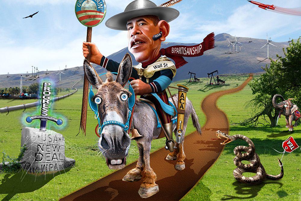 Барк Обама в образе Дон Кихота.