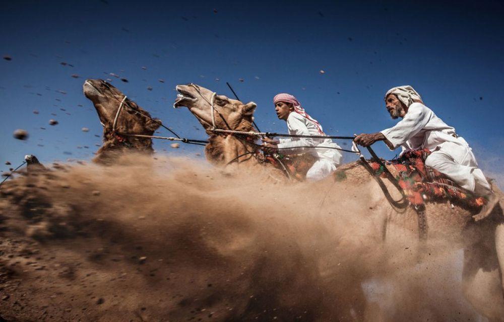 Третье место - фотография, на которой запечатлены верблюжьи бега - Camel Ardah в Омане, которые являются одним из традиционных стилей верблюжьих забегов