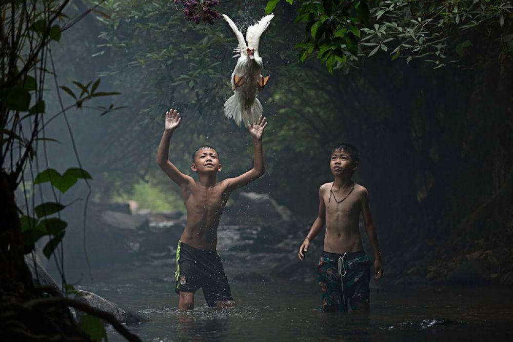 Сара Воутерс заняла пятое место в фотоконкурсе National Geographic с фотоснимком, на котором два мальчика в Таиланде пытаются поймать утку