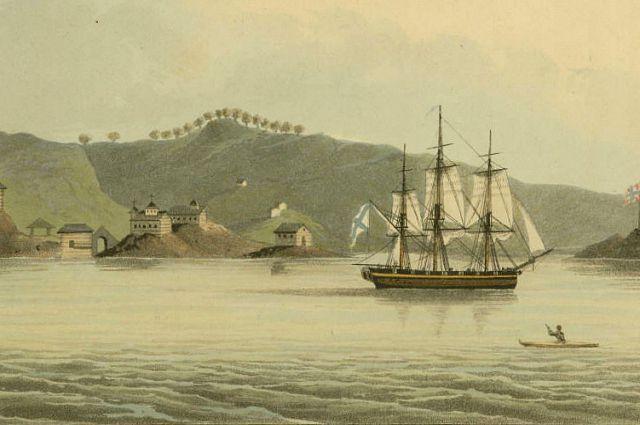 «Нева» в гавани Святого Павла на острове Кадьяк. Фрагмент гравюры по рисунку Лисянского