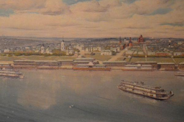 Царицын, XIX век. Панорама города со стороны Волги. Холст, масло.