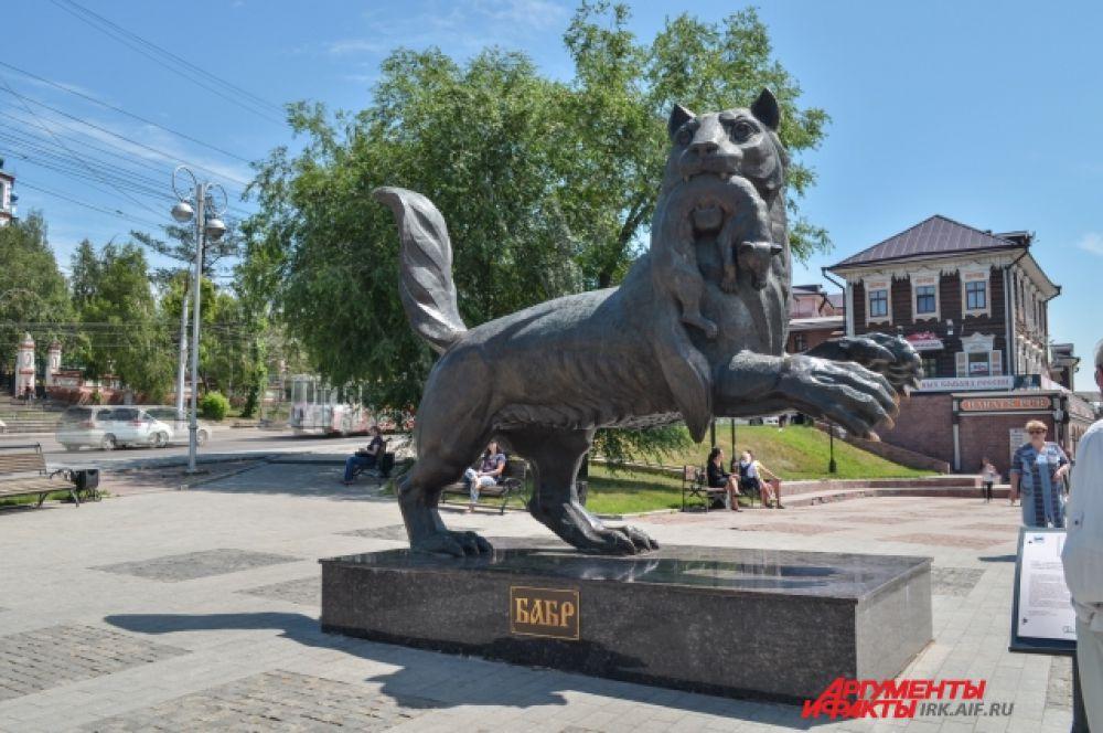 Иркутск. Памятник бабру - загадочному зверю, красующемуся на гербе города.