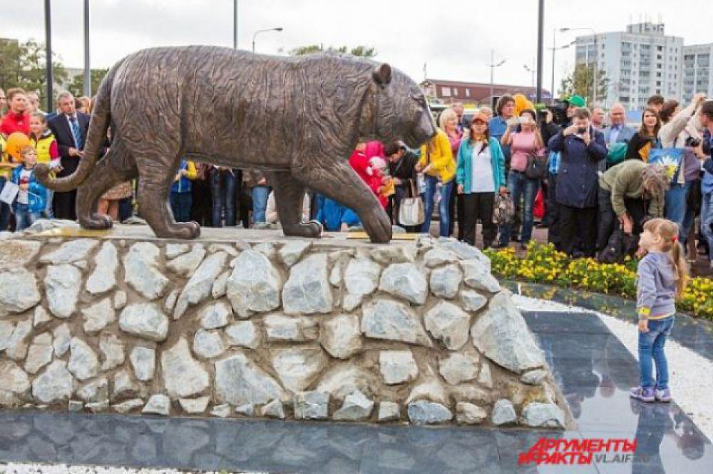Владивосток. Памятник вымирающему амурскому тигру.