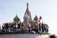 Москвичи на митинге на Красной площади.