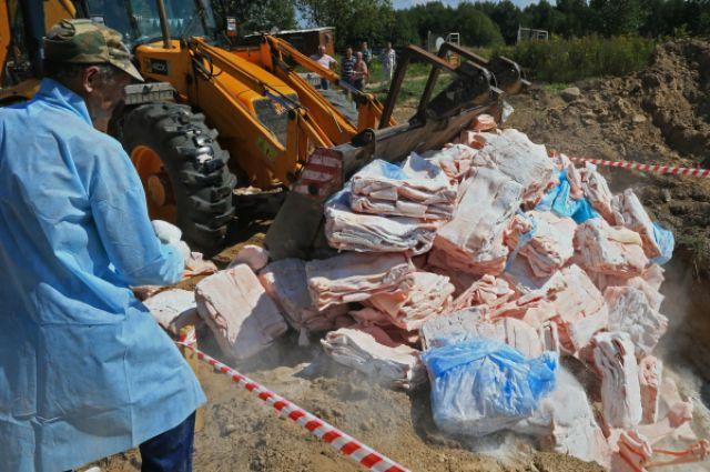 Уничтожение санкционных продуктов.