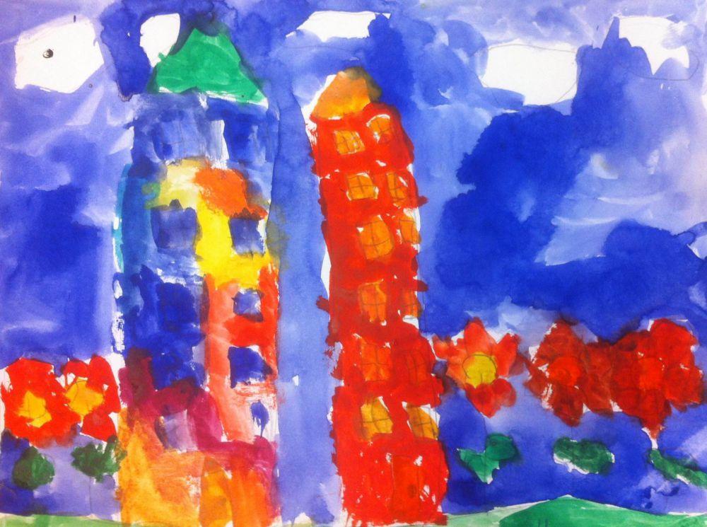 Маша Шустова. 5 лет. В городе будущего растут цветы, такие же большие, как деревья, а дома - разноцветные как радуга.