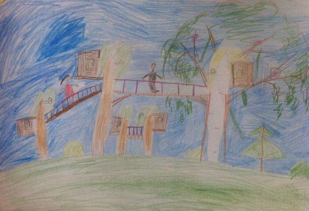 Вова Булыгин. 8 лет. В городе будущего дома строят на деревьях, и ходят к друг другу в гости по мостикам.