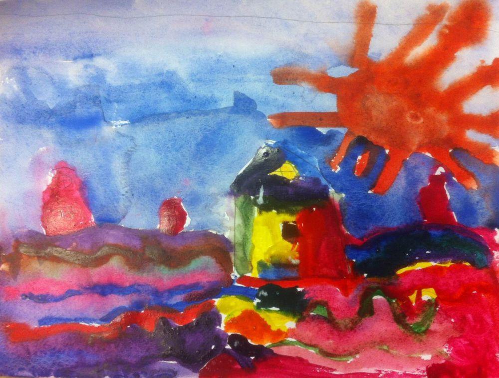 Кира Одинокова. 4 года. В городе будущего дома плавают в море, где светит яркое солнце и окрашивает все в яркие цвета.