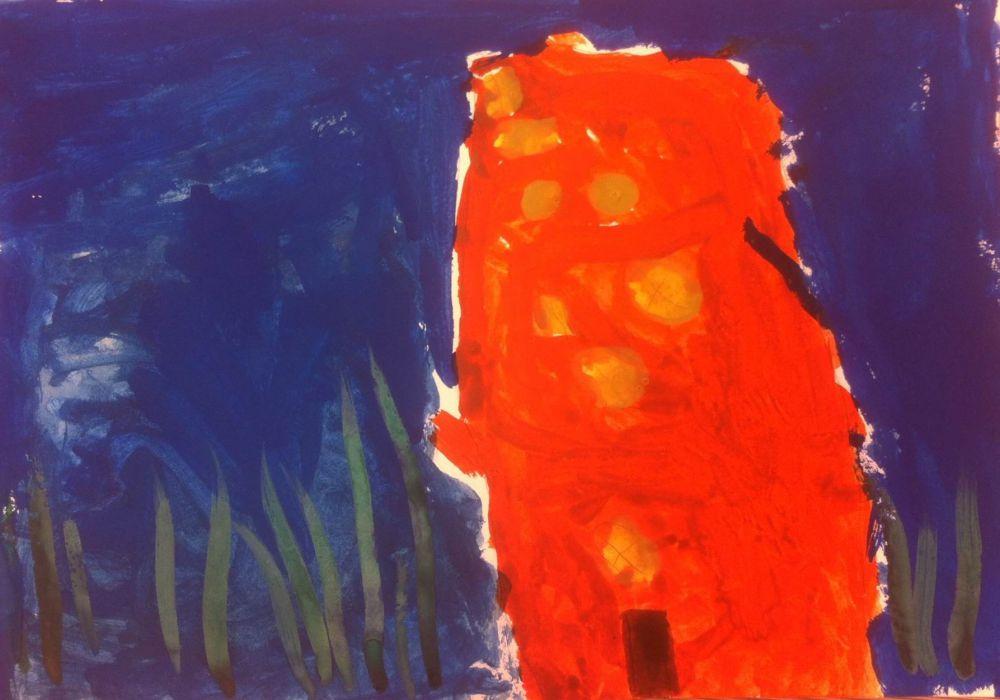 Федя Дорохин. 4 года. Город будущего под водой, там тихо и спокойно, а в окнах плавают рыбки.