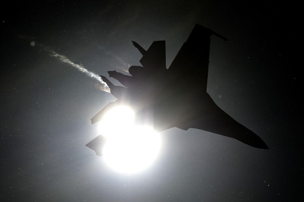 Су-33 во время генеральной репетиции летной программы.