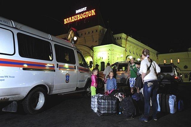В Приморье беженцы прибыли на поезде.