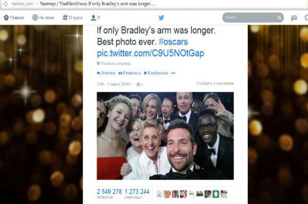И твит, который получил наибольшее количество ретвитов (1 млн), в котором телеведущая Эллен Дедженерес опубликовала коллективное селфи с церемонии вручения премии «Оскар» в 2014 году.