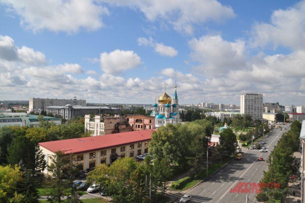 Отсюда открывается прекрасный вид на Омск.