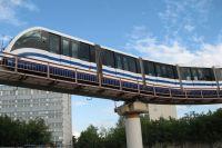 Поезд московской монорельсовой дороги.