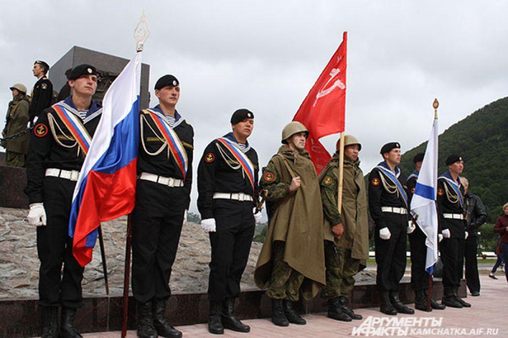 Открытие стелы«Город воинской славы» в центре Петропавловска.