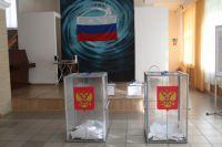 Баннер, на одном из избирательных участков Челябинска, украшенный российским триколором гласит: «Назад в будущее».