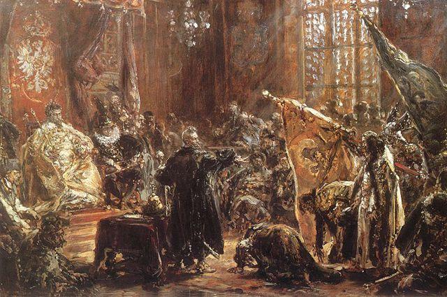 «Представление пленного царя Василия Шуйского Cенату и Сигизмунду III в Варшаве», картина Яна Матейко.