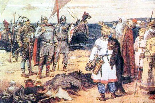 «Прибытие Рюрика в Ладогу» В. М. Васнецов. 19 век.