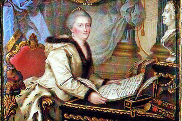 Екатерина Великая с текстом «Наказа» в руках.