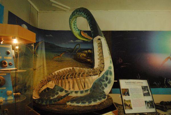 Реконструкция плезиозавра с подлинными костями.
