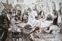 Иллюстрация работы Курдюмова к энциклопедическому изданию «Великая реформа» на которой изображены истязания Салтычихи «по возможности в мягких тонах».