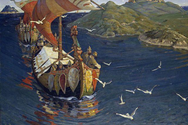 Драккар на картине «Заморские гости», Николай Рерих, 1901, Третьяковская галерея.