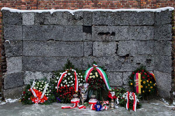Стена смерти в Освенциме. Расстрельная стена между блоками № 10 и № 11 самого большого фашистского концлагеря Освенцим. На этом месте гитлеровцы проводили массовые казни неугодных политических заключенных, а также узников, склонных к неподчинению, побегу и т.п. Это место, как и весь Лагер смерти, было решено оставить в неприкосновенности, чтобы сохранить свидетельства совершенного здесь преступления против человечества.