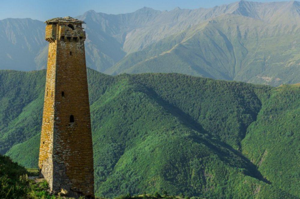 Историческая боевая башня в селении Тазбичи Итум-Калинского района.