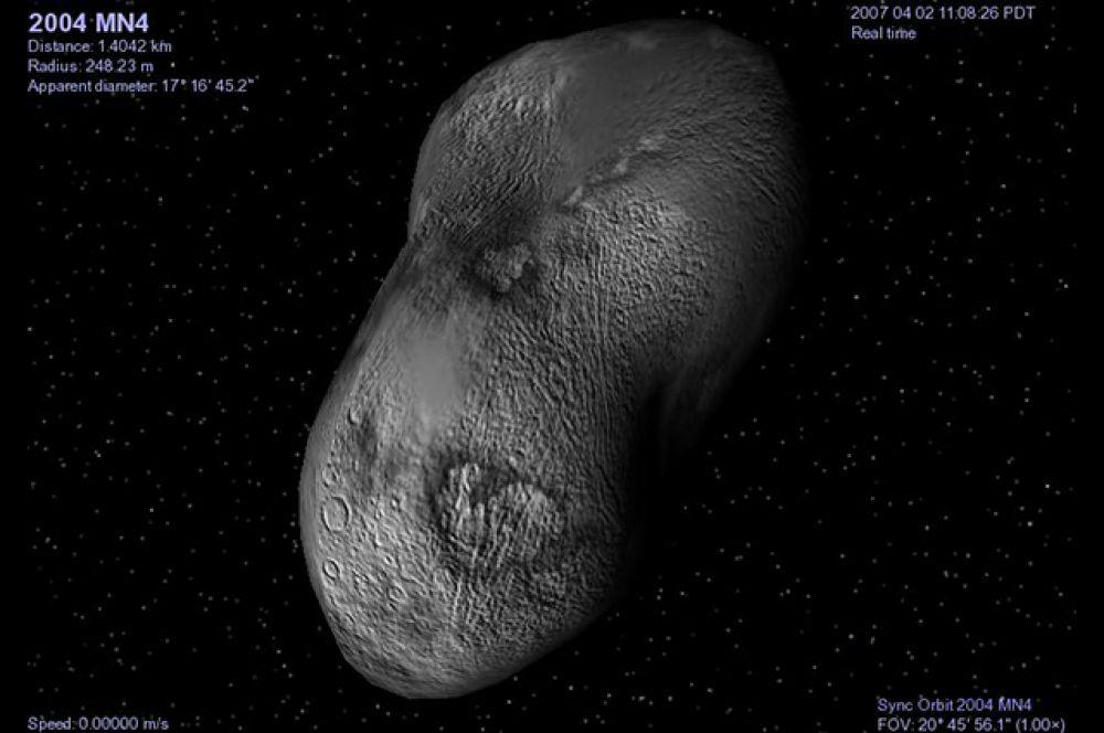 Одним из наиболее крупных астероидов является 270-метровый Апофис или 2004 MN4. Ранее считалось, что вероятность столкновения его с Землей в 2029 году равна 2,7%. В случае   удара взрыв причинил бы огромные разрушения на территории площадью в тысячи квадратных километров. Однако после того, как 2013 году Апофис прошел мимо нашей планеты на   расстоянии 14,46 млн. км. NASA практически полностью исключило такую возможность.