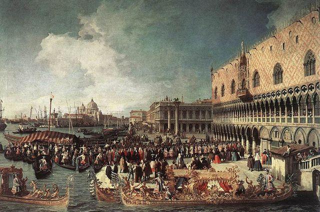 Приём посла во дворце дожей, Венеция. С картины Каналетто, около 1730 г.