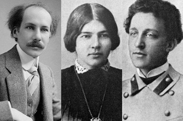 Андрей Белый, Любовь Менделеева и Александр Блок.