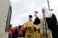 Патриарх Московский и всея Руси Кирилл во время церемонии открытия закладного камня на месте установки памятника святому равноапостольному князю Владимиру на Боровицкой площади в Москве.