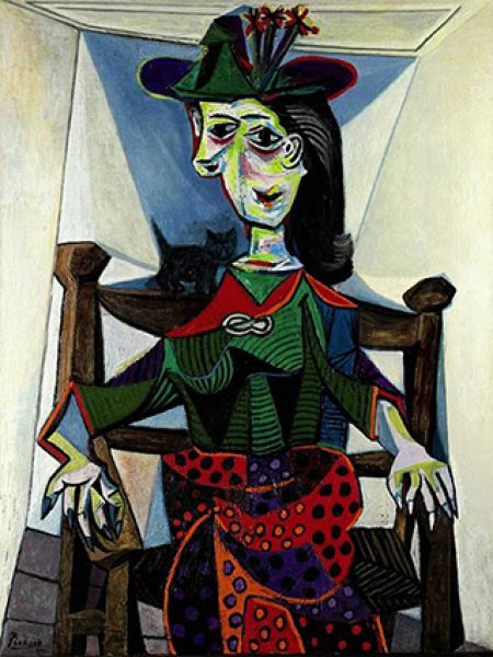 «Дора Маар с кошкой», Пабло Пикассо. Год создания: 1941. Дата продажи: 3 мая 2006 года. Цена 95,2 млн. долларов.
