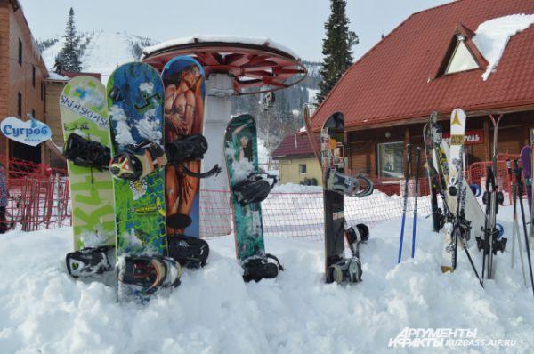 Инвентарь сноубордистов.