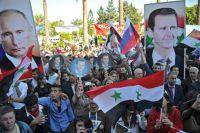 Участники митинга в Тартусе в поддержку операции Воздушно-космических сил РФ в Сирии.