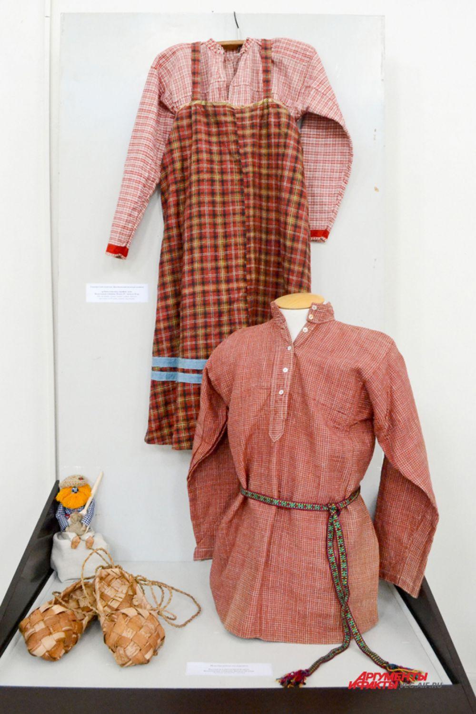 Крестьянский женский костюм конца 19 – начала 20 века из Вологодской губернии. Мужская рубаха-косоворотка.