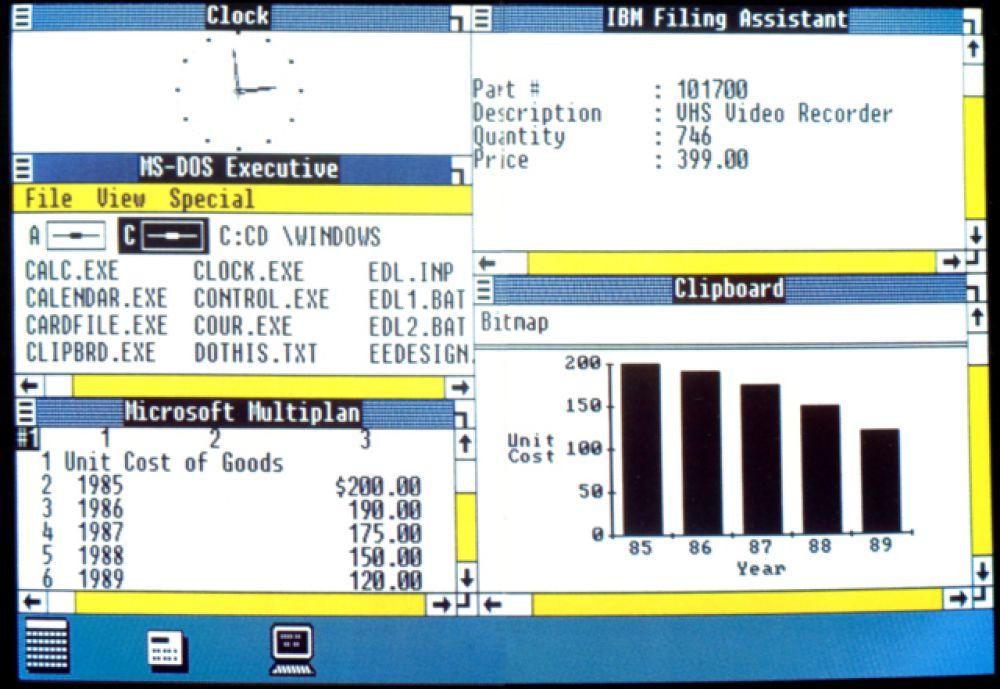 Windows 1.01, вышедшая в 1985 году. Теперь вместо ввода команд MS-DOS пользователи могли просто переместить мышь и кликнуть на один из нужных экранов или «окон».