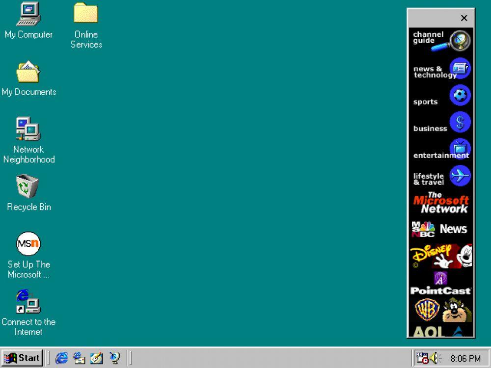 В Windows 98, выпущенной в 1998, реализована поддержка чтения DVD-дисков и USB-устройств. Впервые появляется панель быстрого запуска, которая позволяет запускать программы без просмотра меню «Пуск» или поиска их на рабочем столе.