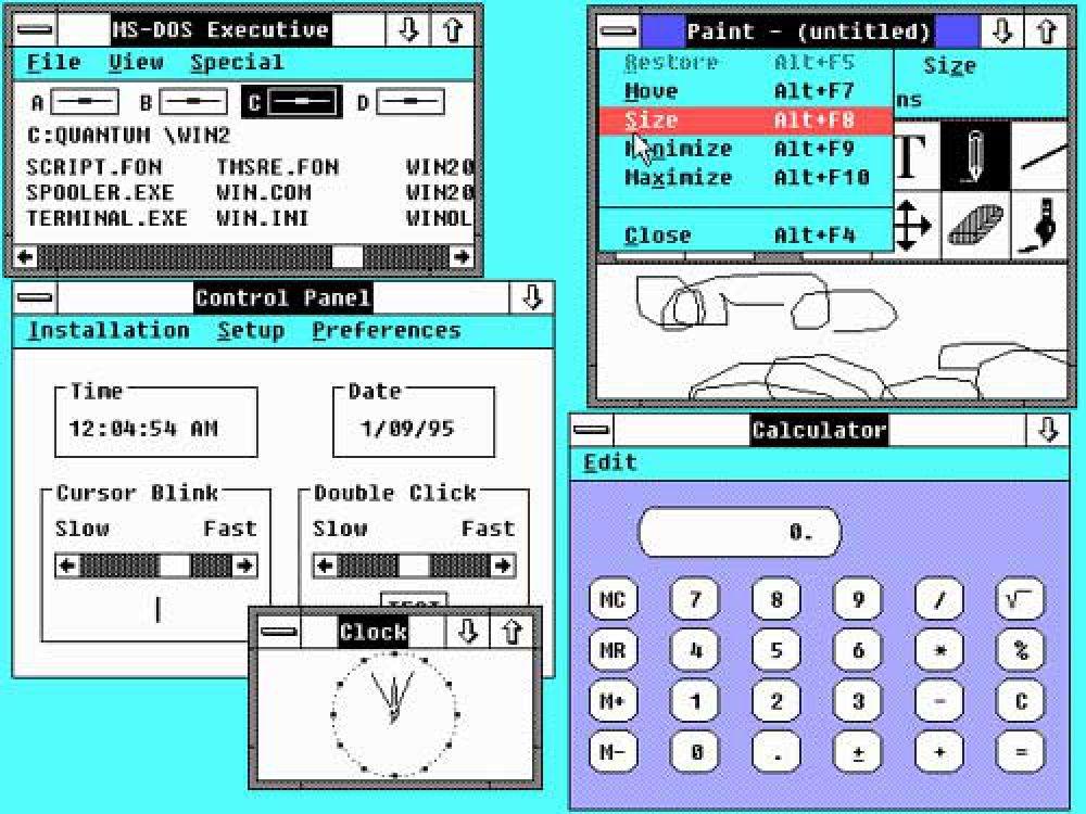 Поколение Windows 2.х было выпущено в 1987 году. Версия 2.0 содержала те же самые приложения, что и Windows 1.0, но с улучшенными элементами управления и поддержкой графического режима. Пользователи могли свободно изменять размер окон и перемещать их в любую область экрана, а также перекрывать одно другим. Позднее вышло обновление 2.1, предназначенное для работы с процессором Intel 386.