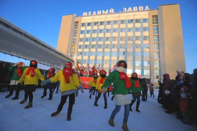 Норильск во время встречи Олимпийского огня.